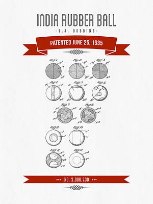1935 India Rubber Ball Patent Drawing - Retro Red Poster by Aged Pixel