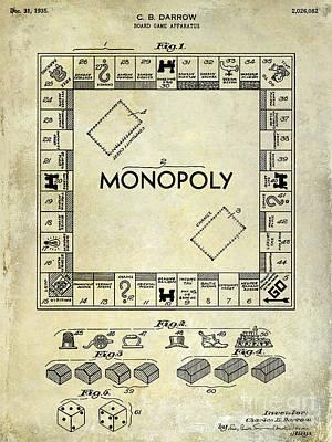 1935 Monopoly Patent Drawing Poster by Jon Neidert