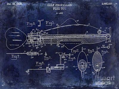 1936 Fish Toy Patent Drawing Blue Poster by Jon Neidert