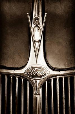 1936 Ford Phaeton V8 Hood Ornament - Emblem Poster by Jill Reger