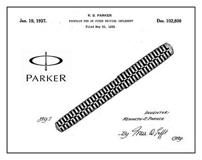 1936 Parker Pen Patent Art With Logo 1 Poster by Nishanth Gopinathan