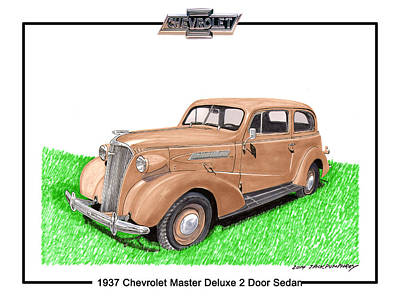 1937 Chevy Master Deluxe 2 Dr Sedan Poster by Jack Pumphrey