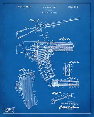 1937 Police Remington Model 8 Magazine Patent Artwork - Blueprin Poster by Nikki Marie Smith