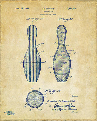 1939 Bowling Pin Patent Artwork - Vintage Poster by Nikki Marie Smith
