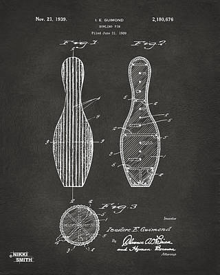 1939 Bowling Pin Patent Artwork - Gray Poster by Nikki Marie Smith