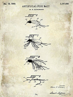 1940 Artificial Fish Bait Patent Drawing Poster by Jon Neidert