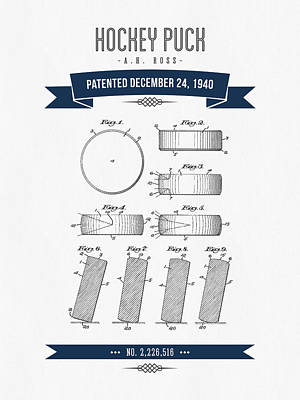 1940 Hockey Puck Patent Drawing - Retro Navy Blue Poster by Aged Pixel
