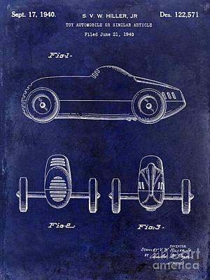 1940 Toy Car Patent Drawing Blue Poster by Jon Neidert