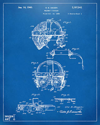 1940 Welders Goggles Patent Artwork Blueprint Poster by Nikki Marie Smith