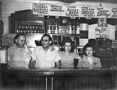 1940's Diner And Its Staff Poster by Underwood Archives
