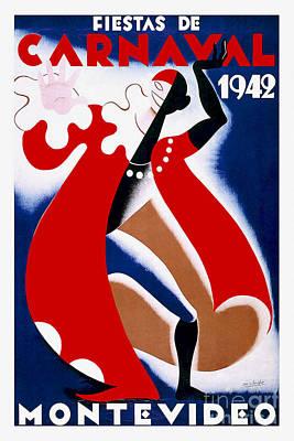1942 Carnaval Vintage Travel Poster Poster by Jon Neidert