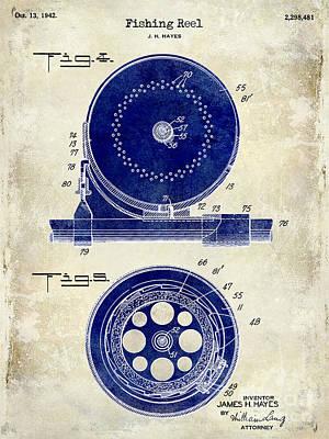 1942 Fishing Reel Patent Drawing 2 Tone Poster by Jon Neidert