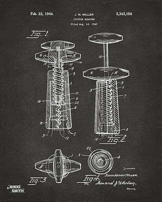 1944 Wine Corkscrew Patent Artwork - Gray Poster by Nikki Marie Smith
