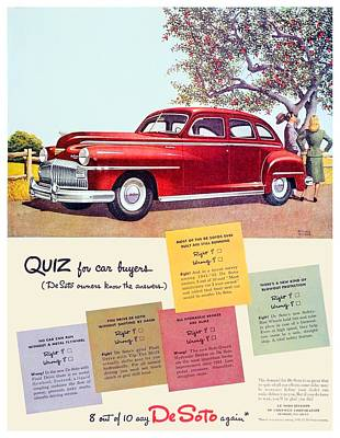 1947 - Desoto Automobile Advertisement - Color Poster by John Madison