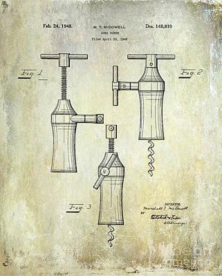 1948 Corkscrew Patent Drawing Poster by Jon Neidert