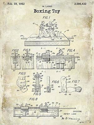 1952 Boxing Toy Patent Drawing Poster by Jon Neidert