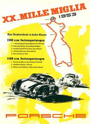 1954 Xx Mille Miglia Porsche Poster Poster by Georgia Fowler