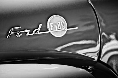 1955 Ford F-100 Pickup Truck Side Emblem -3515bw Poster by Jill Reger