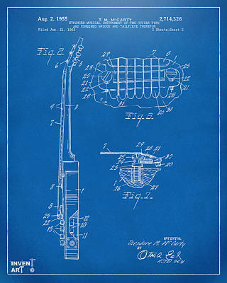 1955 Mccarty Gibson Les Paul Guitar Patent Artwork 2 Blueprint Poster by Nikki Marie Smith