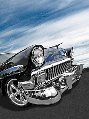 1956 Chevrolet With Blue Skies Poster by Gill Billington