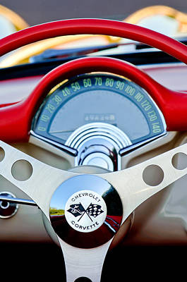 1957 Chevrolet Corvette Convertible Steering Wheel Poster by Jill Reger