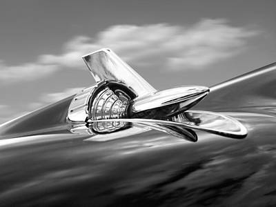 1957 Chevy Bel Air Hood Ornament In Black And White Poster by Gill Billington