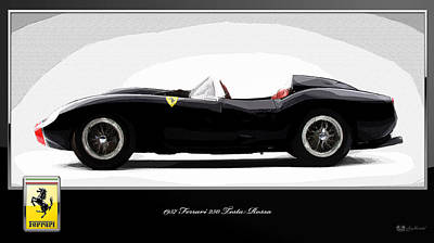 1957 Ferrari 250 Testa Rossa With 3d Badge Poster by Serge Averbukh
