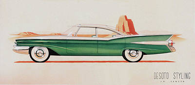 1959 Desoto  Classic Car Concept Design Concept Rendering Sketch Poster by John Samsen