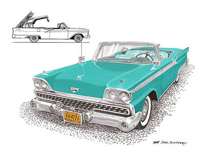 1959 Ford 500 Fairlane Retractable Hard Top Poster by Jack Pumphrey