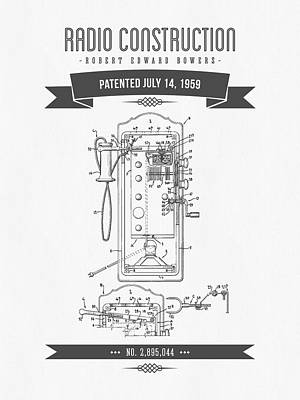 1959 Radio Construction Patent Drawing - Retro Gray 01 Poster by Aged Pixel