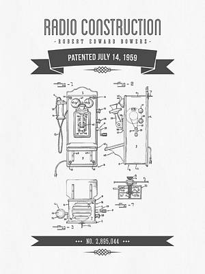 1959 Radio Construction Patent Drawing - Retro Gray Poster by Aged Pixel