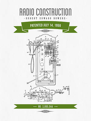 1959 Radio Construction Patent Drawing - Retro Green 01 Poster by Aged Pixel