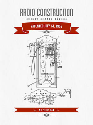 1959 Radio Construction Patent Drawing - Retro Red 01 Poster by Aged Pixel