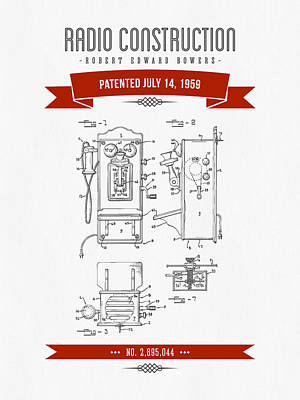 1959 Radio Construction Patent Drawing - Retro Red Poster by Aged Pixel