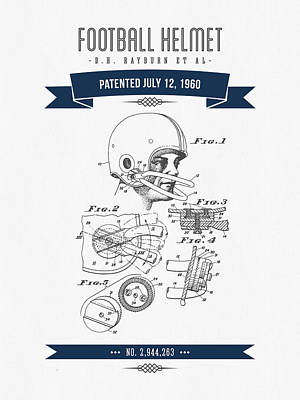 1960 Football Helmet Patent Drawing - Retro Navy Blue Poster by Aged Pixel