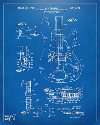 1961 Fender Guitar Patent Artwork - Blueprint Poster by Nikki Marie Smith