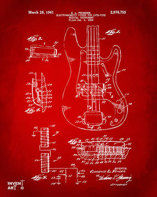 1961 Fender Guitar Patent Artwork - Red Poster by Nikki Marie Smith