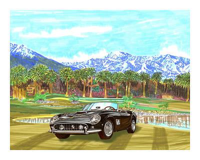 1961 Ferrari G T 250 Indian Wells  Golf Poster by Jack Pumphrey