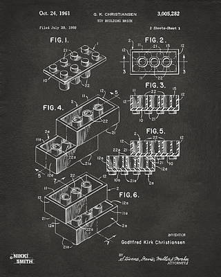 1961 Toy Building Brick Patent Art - Gray Poster by Nikki Marie Smith