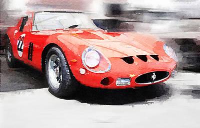 1962 Ferrari 250 Gto Watercolor Poster by Naxart Studio