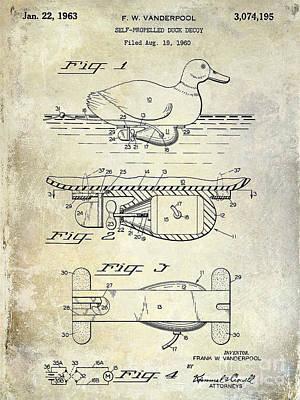 1963 Duck Decoy Patent Drawing Poster by Jon Neidert