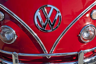 1964 Volkswagen Vw Double Cab Emblem Poster by Jill Reger