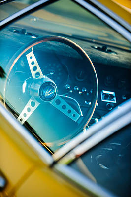 1967 Maserati Ghibi Steering Wheel Emblem Poster by Jill Reger