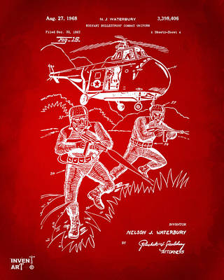 1968 Bulletproof Patent Artwork Figure 15 Red Poster by Nikki Marie Smith