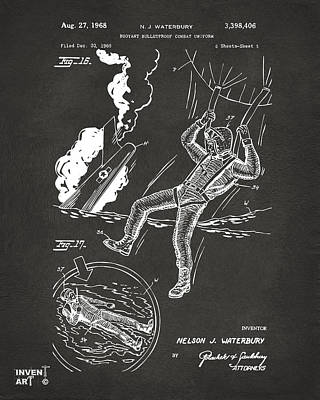 1968 Bulletproof Patent Artwork Figure 16 Gray Poster by Nikki Marie Smith