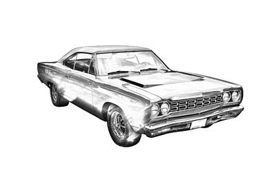 1968 Plymouth Roadrunner Muscle Car Illustration Poster by Keith Webber Jr