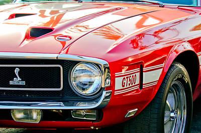 1969 Shelby Cobra Gt500 Front End - Grille Emblem Poster by Jill Reger