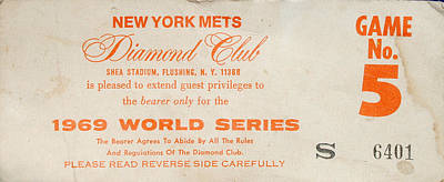 1969 World Series Diamond Club Ticket Poster by Melinda Saminski