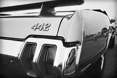 1970 Olds 442 Black And White Poster by Gordon Dean II