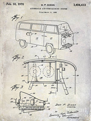 1970 Vw Patent Drawing Poster by Jon Neidert